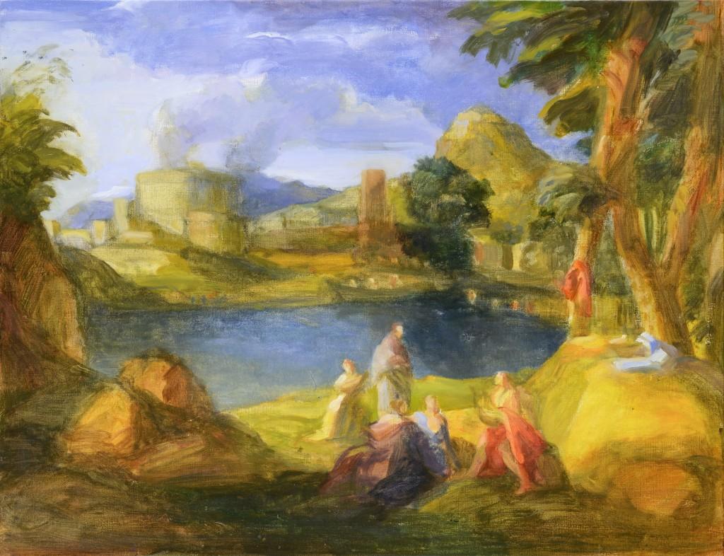 Orphéee et Eurydice - D'après Poussin - Huile - 65 x 50 - 2012 - Col. part.