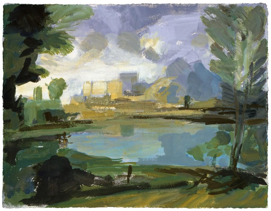 Temps calme - D'après Poussin - Acrylique - 43 x 34  - 2009 - Col. part.