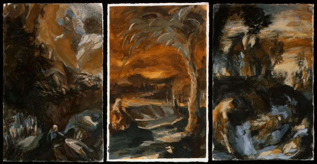 Triptique - D'après Tintoret - Tempéra - 66 x 34 - 2009 - Col. part.