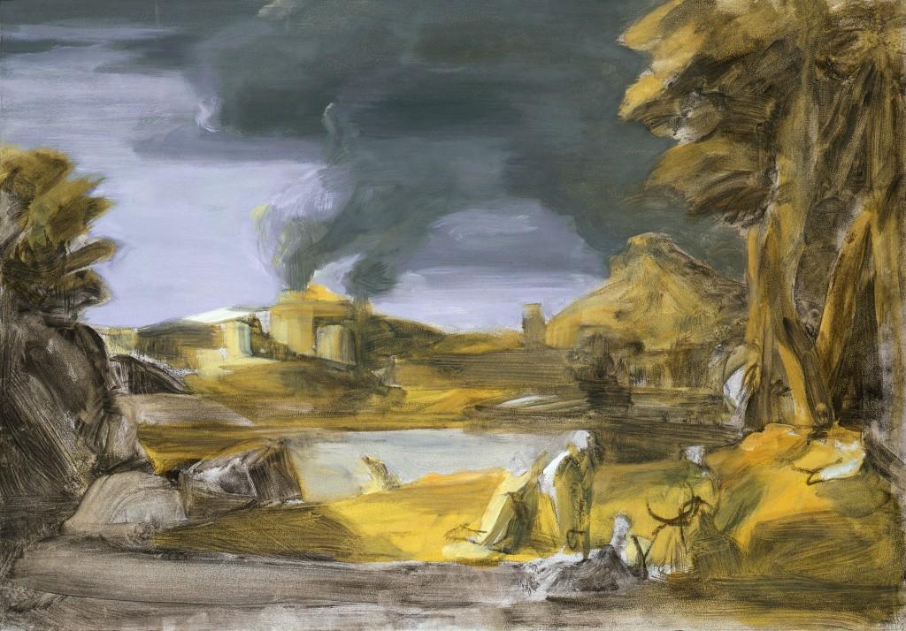 Orphée et Eurydice - D'après Poussin - Fusain et Huile sur toile - 90 x 63 - 2009 - Col. part.