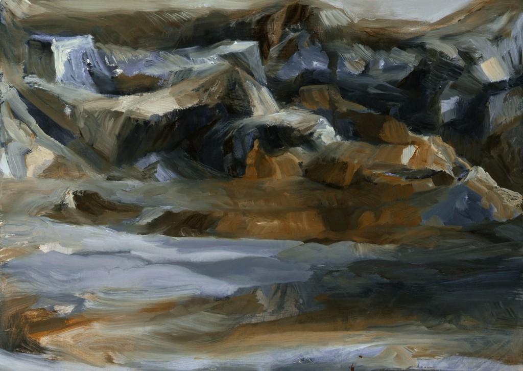 Paysage - Huile sur papier - 59 x 41 - 2009 - Col. part.