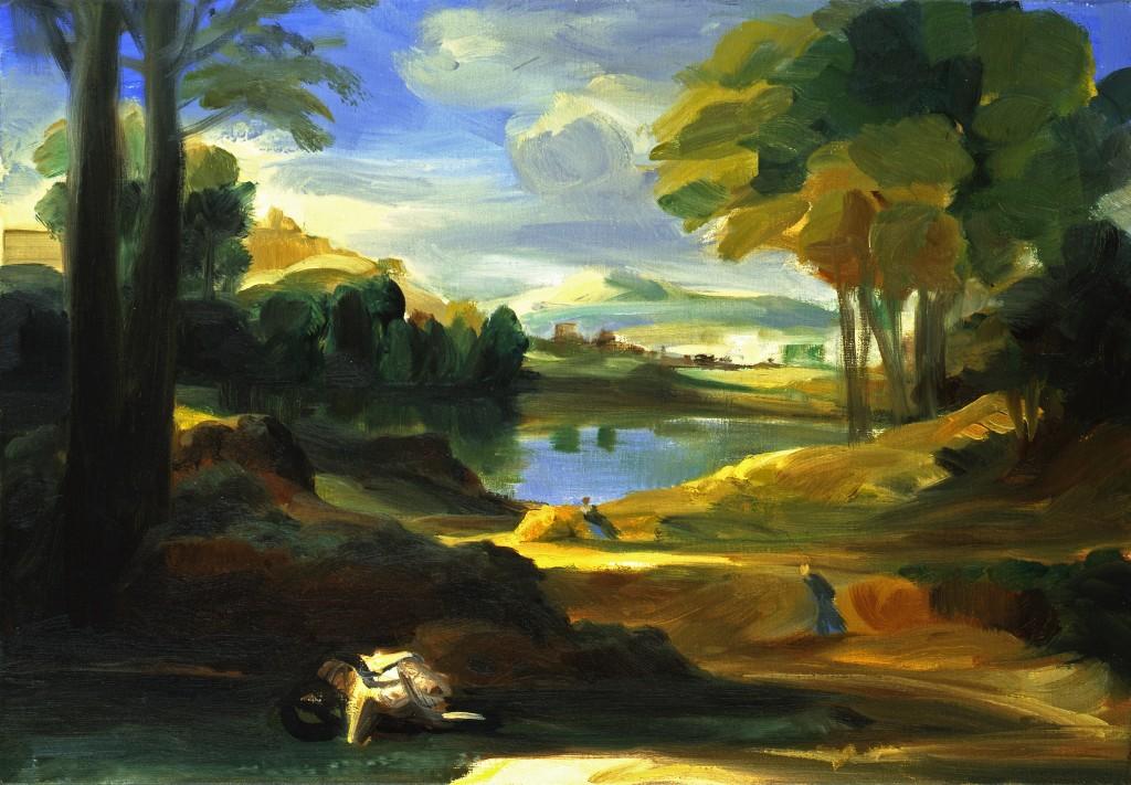 n°45 Paysage - D'après Poussin - Huile - 55 x 33 - 2009 - Col. part.