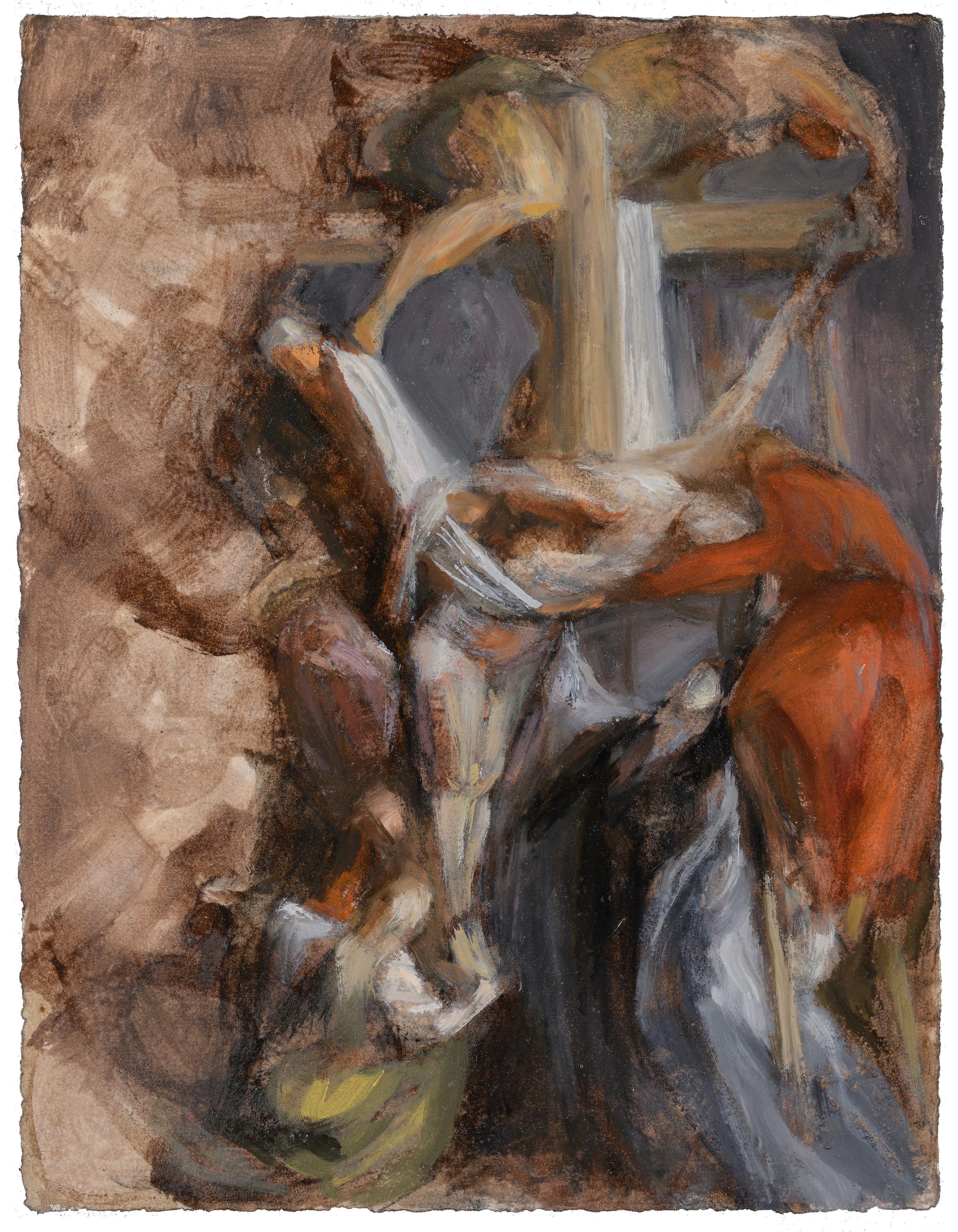 n°51 Décente de croix - D'après Rubens - Huile - 34 x 44 - 2012 - Col. part.