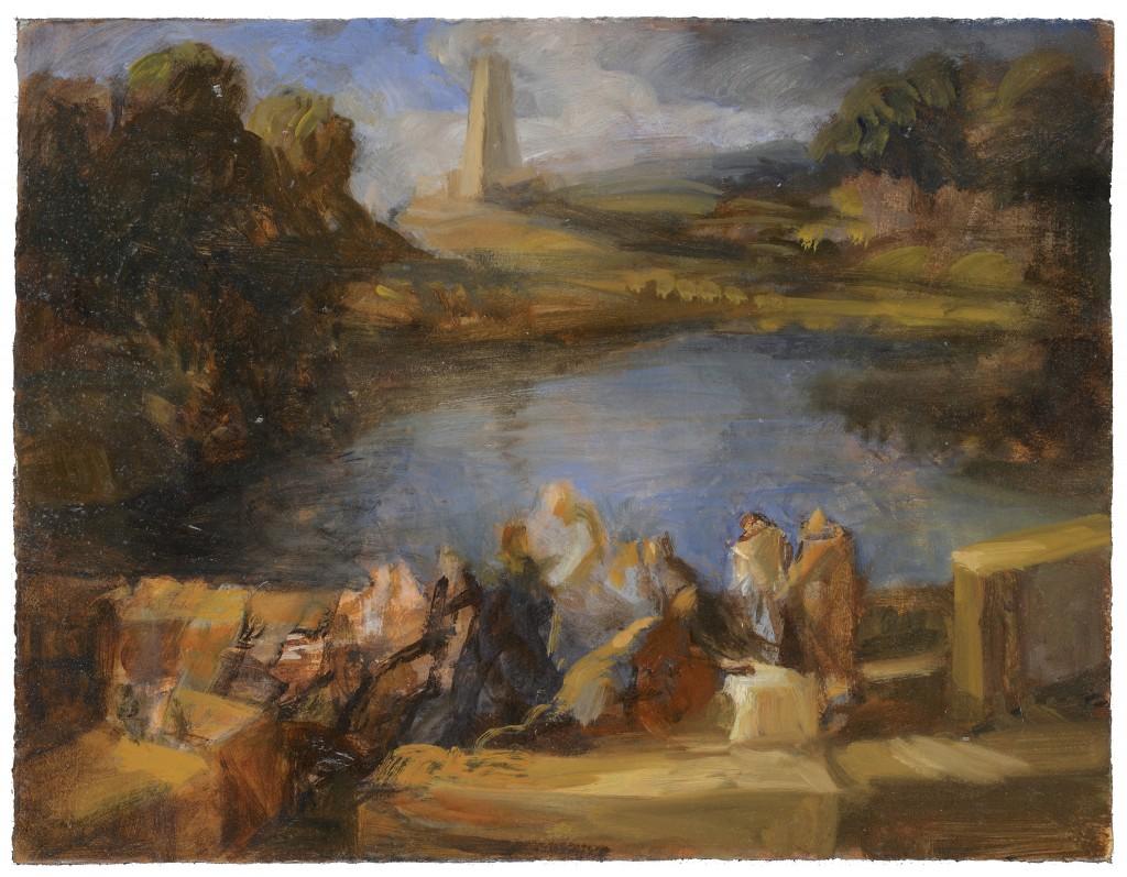 Conversation avec un ange - D'après Poussin - Huile - 40 x 30 - 2012 - Col. part.