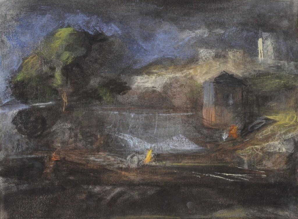Tyrame et Thisbé - D'après Poussin - Pastel sur Acrylique - 40 x 30 - 2012 - Col. part.