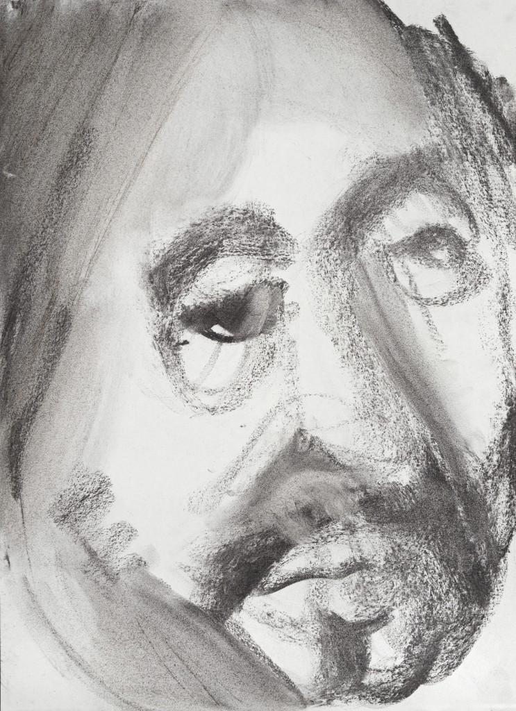 Portrait d'homme - D'après Velasquez - Fusains - 30 x 40 - 2012 - Col. part.
