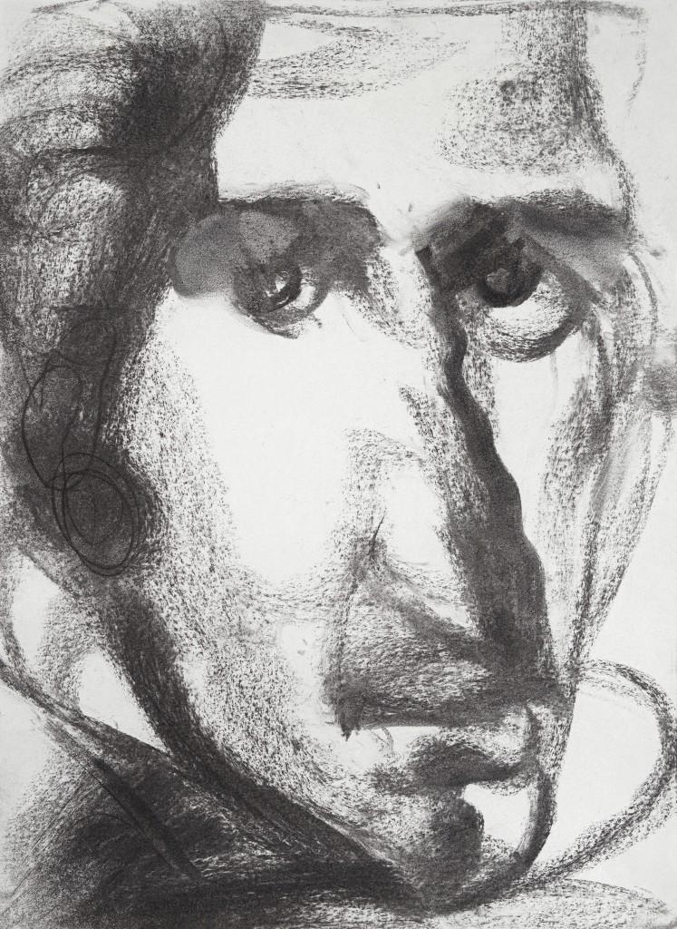 Portrait d'homme inconnu - D'après Velasquez - Fusains - 30 x 40 - 2012 - Col. part.