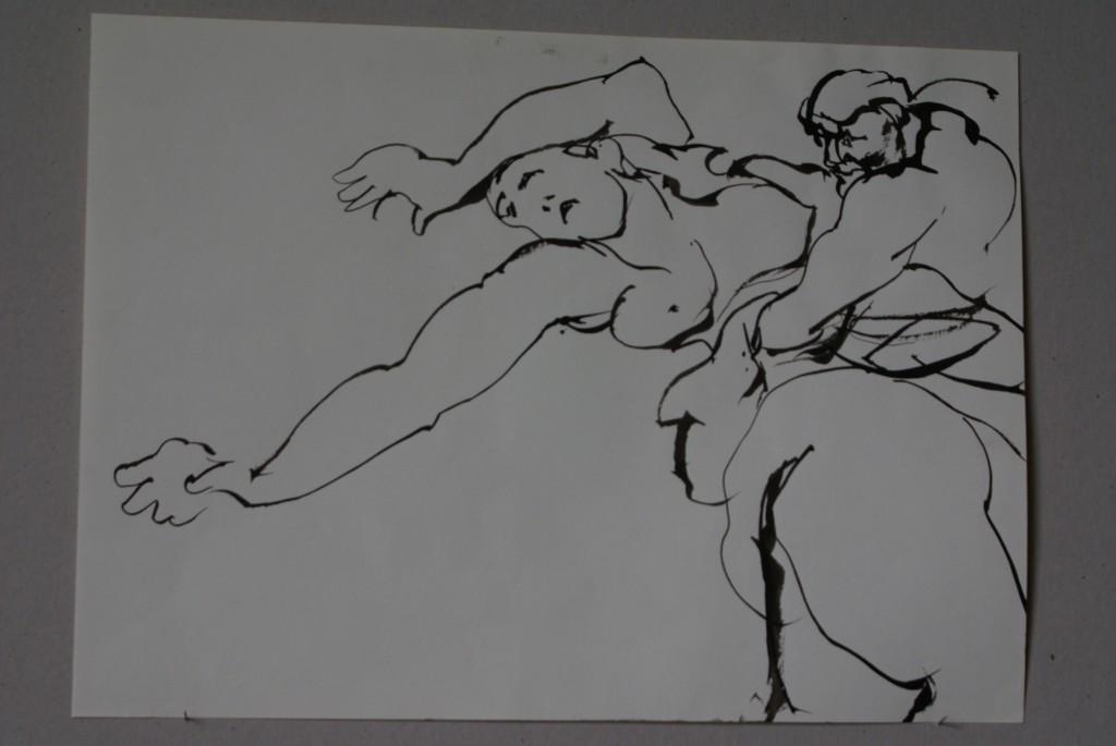 Le combat des Lapithes contre les centaures - D'après Rubens - Lavis - 29 x 39 - 2009 - Col. part.