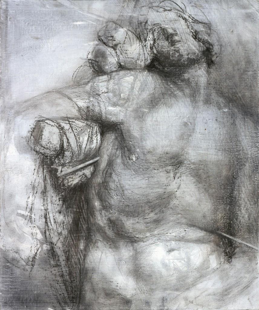 Douleurs exquises ? - d'après Bernin - Fusain sur Toile - 54 x 65 - 2006 - Col. part.