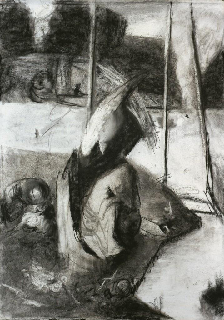 Tentation - D'après Jerôme Bosch - Fusain - 65 x 92.5 - 2006 - Col. part.