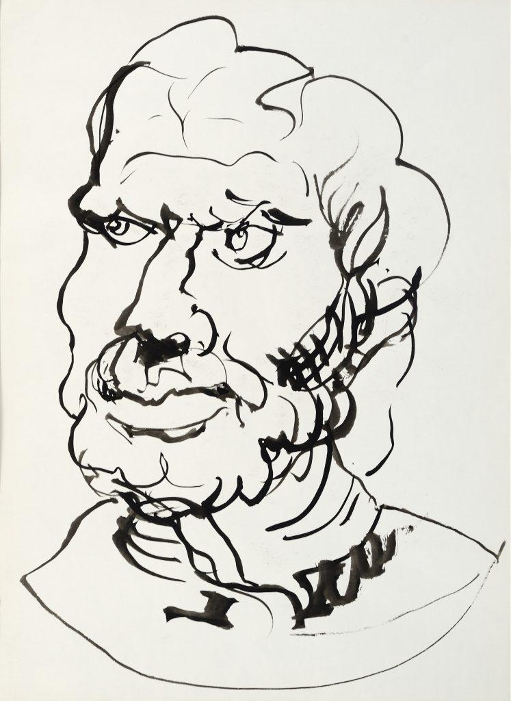 Buste homme - D'après Rubens - Lavis - 30 x 40 - 2010 - Col. part.