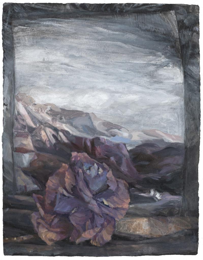 30 - huile sur papier marouflé - 45x35 - Nature morte - Choux dans le paysage - 2018